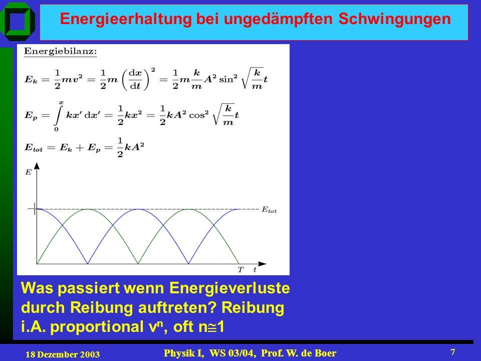 18 Dezember 2003 Physik I, WS 03/04, Prof. W. de Boer 7 7 Energieerhaltung bei ungedämpften Schwingungen Was passiert wenn Energieverluste durch Reibu