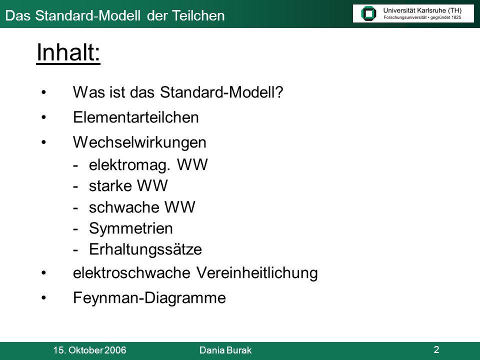 Das Standard-Modell der Teilchen 15.Oktober 2006 Dania Burak 3 Was ist das Standard-Modell.