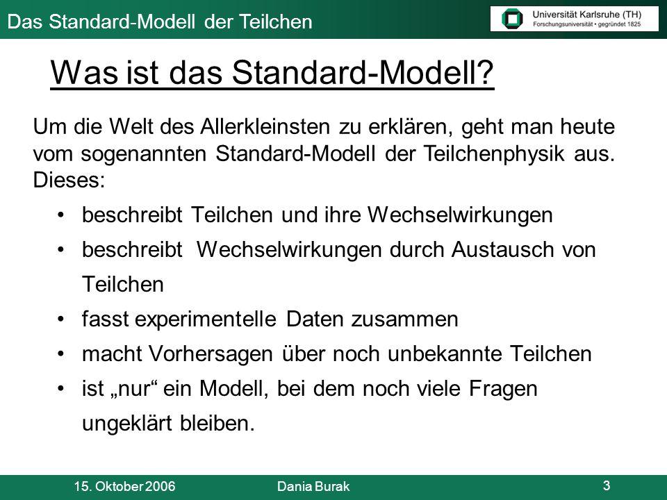 Das Standard-Modell der Teilchen 15. Oktober 2006 Dania Burak 14 r klein r mittel r groß