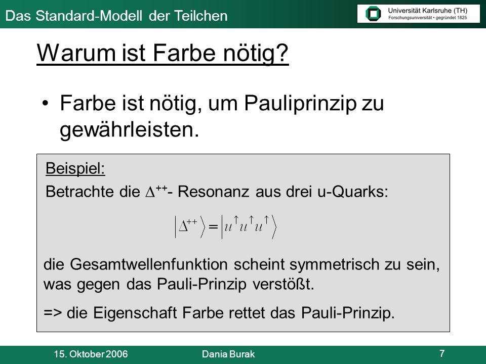 Das Standard-Modell der Teilchen 15.Oktober 2006 Dania Burak 8 freie Quarks.
