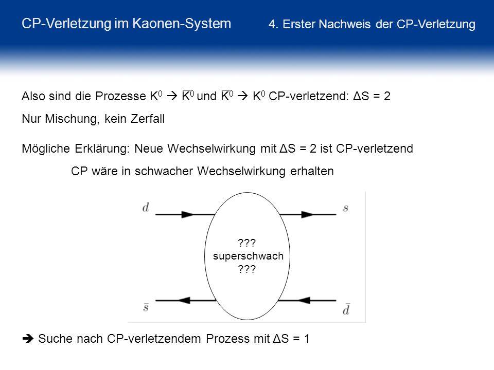 CP-Verletzung im Kaonen-System 4. Erster Nachweis der CP-Verletzung Also sind die Prozesse K 0 K 0 und K 0 K 0 CP-verletzend: ΔS = 2 Nur Mischung, kei