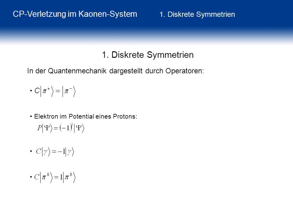 CP-Verletzung im Kaonen-System 1. Diskrete Symmetrien In der Quantenmechanik dargestellt durch Operatoren: Elektron im Potential eines Protons: 1. Dis