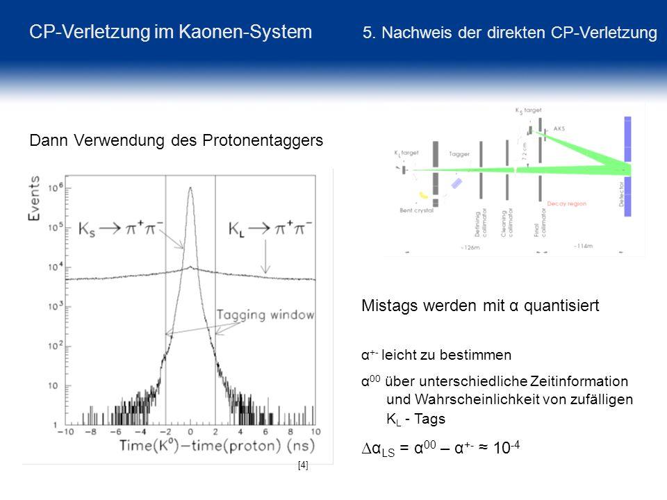 CP-Verletzung im Kaonen-System 5. Nachweis der direkten CP-Verletzung Dann Verwendung des Protonentaggers [4] Mistags werden mit α quantisiert α +- le