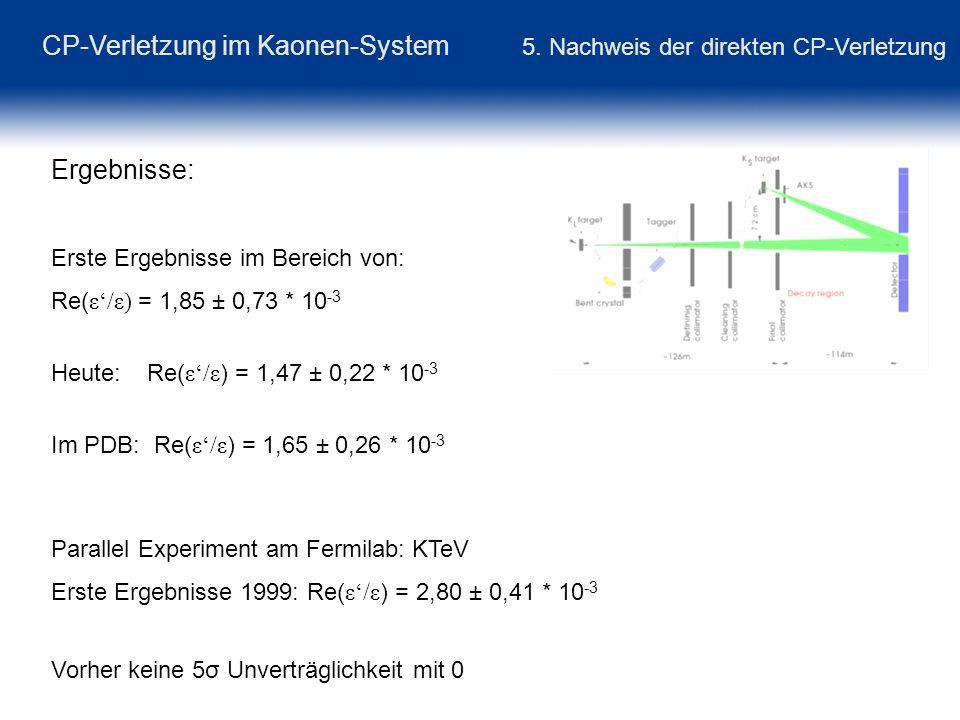 CP-Verletzung im Kaonen-System 5. Nachweis der direkten CP-Verletzung Ergebnisse: Erste Ergebnisse im Bereich von: Re( ε/ε) = 1,85 ± 0,73 * 10 -3 Heut