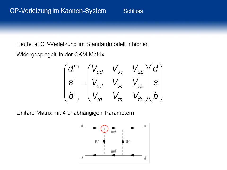 CP-Verletzung im Kaonen-System Schluss Heute ist CP-Verletzung im Standardmodell integriert Widergespiegelt in der CKM-Matrix Unitäre Matrix mit 4 una