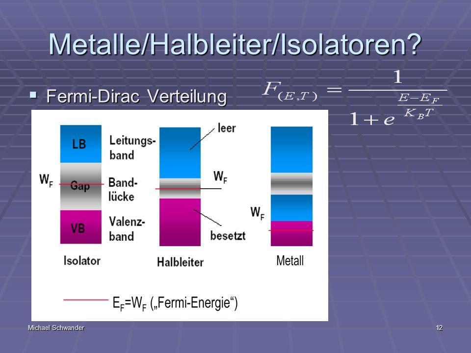 Michael Schwander12 Metalle/Halbleiter/Isolatoren? Fermi-Dirac Verteilung Fermi-Dirac Verteilung