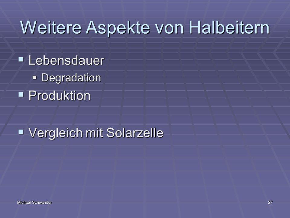 Michael Schwander27 Weitere Aspekte von Halbeitern Lebensdauer Lebensdauer Degradation Degradation Produktion Produktion Vergleich mit Solarzelle Vergleich mit Solarzelle