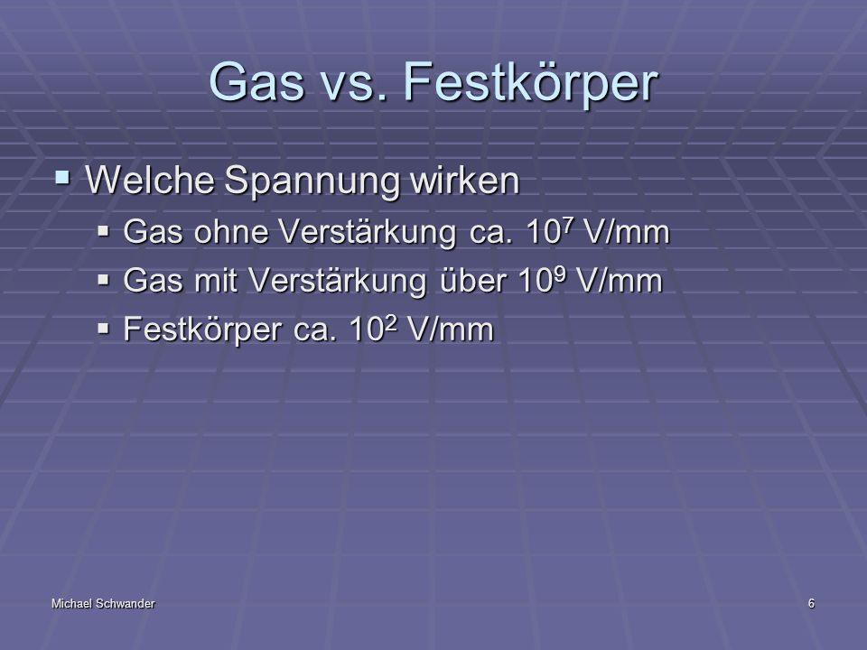 Michael Schwander6 Gas vs. Festkörper Welche Spannung wirken Welche Spannung wirken Gas ohne Verstärkung ca. 10 7 V/mm Gas ohne Verstärkung ca. 10 7 V