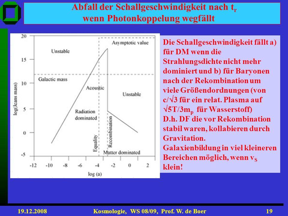 19.12.2008 Kosmologie, WS 08/09, Prof. W. de Boer18 Kriterium für Gravitationskollaps: Jeans Masse und Jeans Länge Gravitationskollaps einer Dichteflu