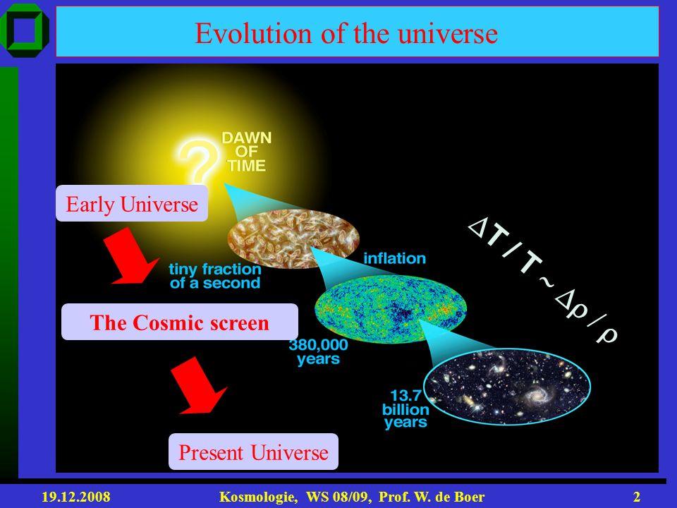 19.12.2008 Kosmologie, WS 08/09, Prof. W. de Boer1 Vorlesung 8+9 Roter Faden: 1. Entstehung der Galaxien-> Materie nur 30% der Gesamtenergie 2. Galaxi