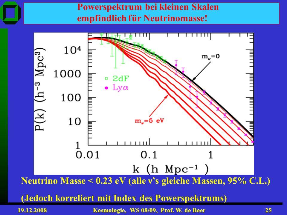 19.12.2008 Kosmologie, WS 08/09, Prof. W. de Boer24 Transfer Function (beschreibt wie Fluktuationen zum Zeitpunkt der Rekombination heute beobachtbar