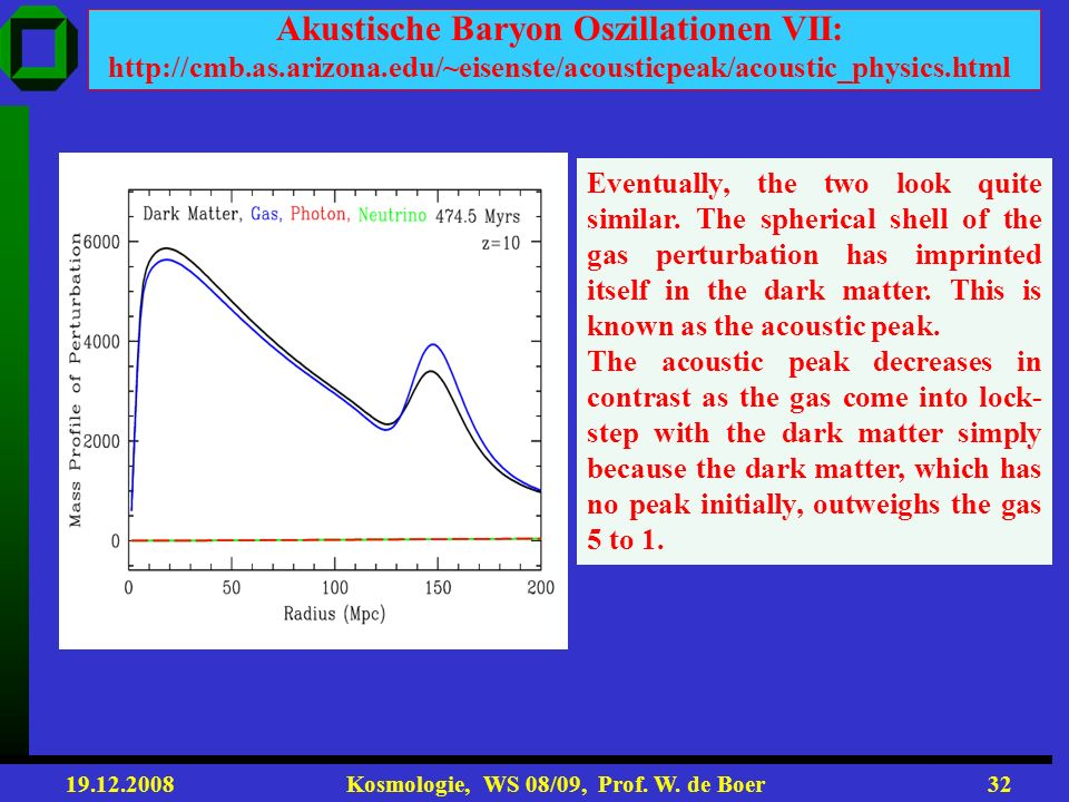 19.12.2008 Kosmologie, WS 08/09, Prof. W. de Boer31 Akustische Baryon Oszillationen VI: http://cmb.as.arizona.edu/~eisenste/acousticpeak/acoustic_phys