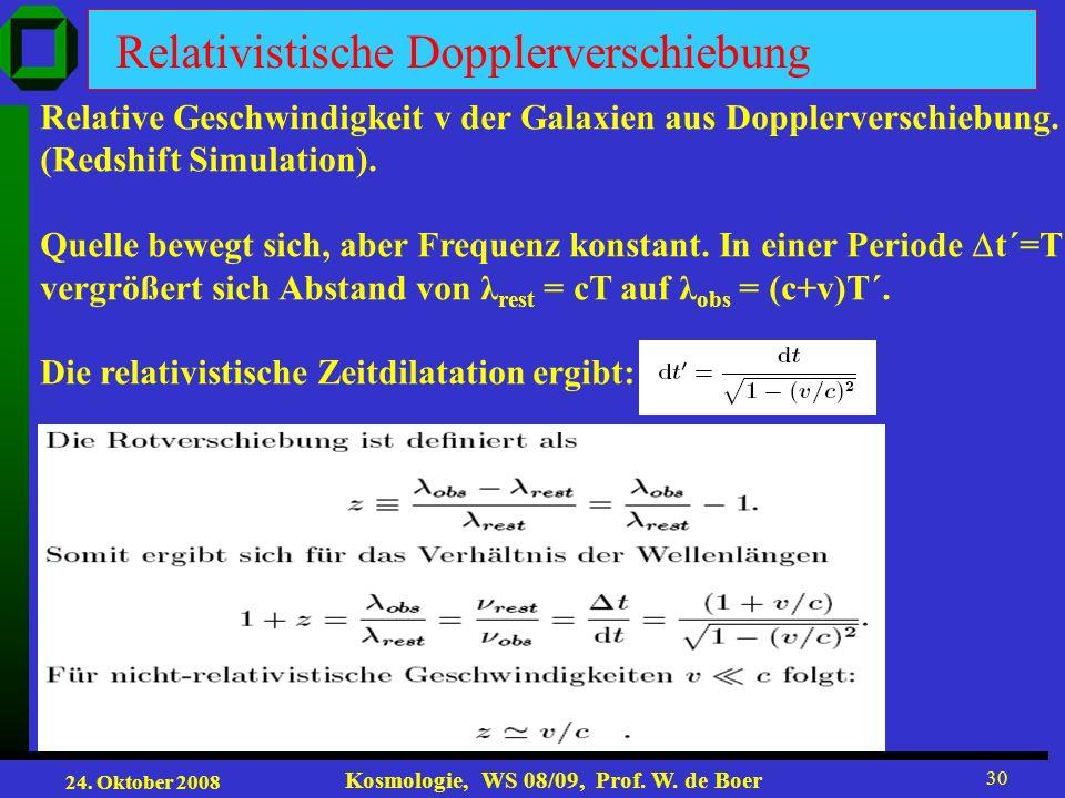24. Oktober 2008 Kosmologie, WS 08/09, Prof. W. de Boer 30 Relativistische Dopplerverschiebung Relative Geschwindigkeit v der Galaxien aus Dopplervers