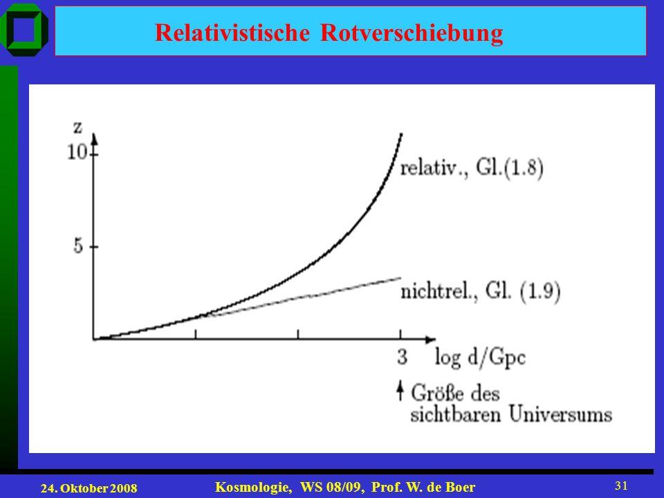 24. Oktober 2008 Kosmologie, WS 08/09, Prof. W. de Boer 31 Relativistische Rotverschiebung