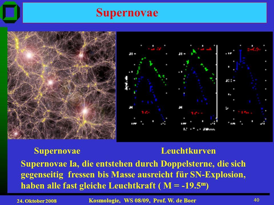24. Oktober 2008 Kosmologie, WS 08/09, Prof. W. de Boer 40 LeuchtkurvenSupernovae Supernovae Ia, die entstehen durch Doppelsterne, die sich gegenseiti