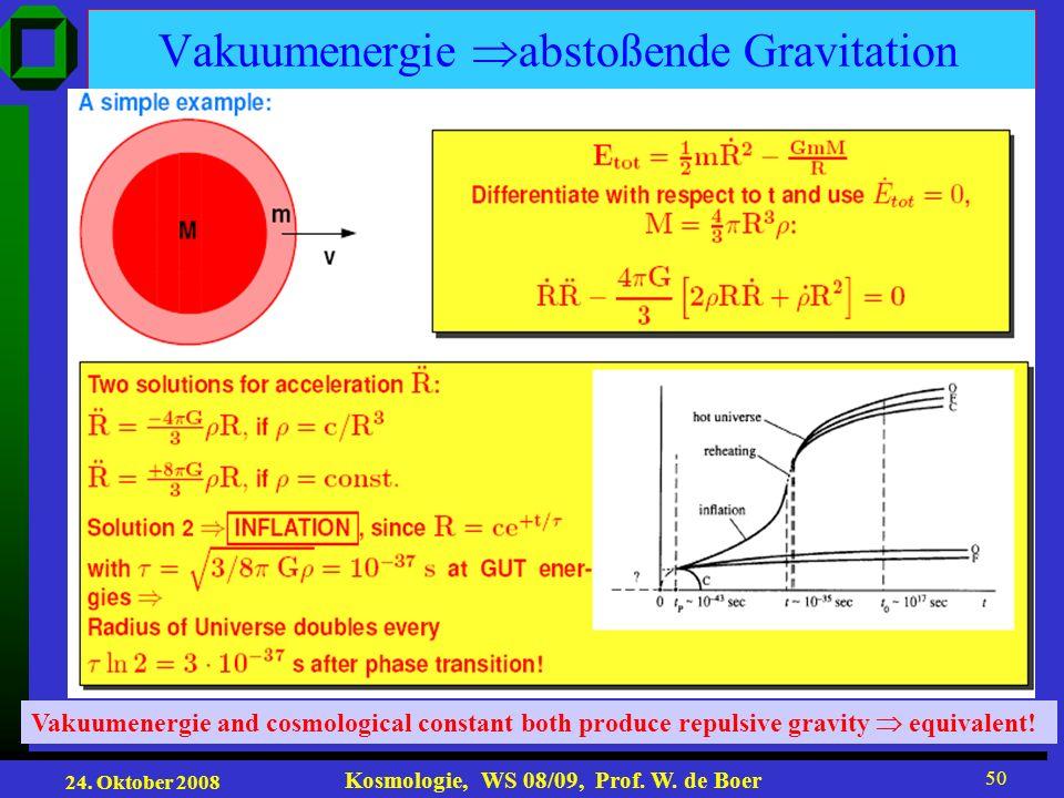 24. Oktober 2008 Kosmologie, WS 08/09, Prof. W. de Boer 50 Vakuumenergie abstoßende Gravitation Vakuumenergie and cosmological constant both produce r
