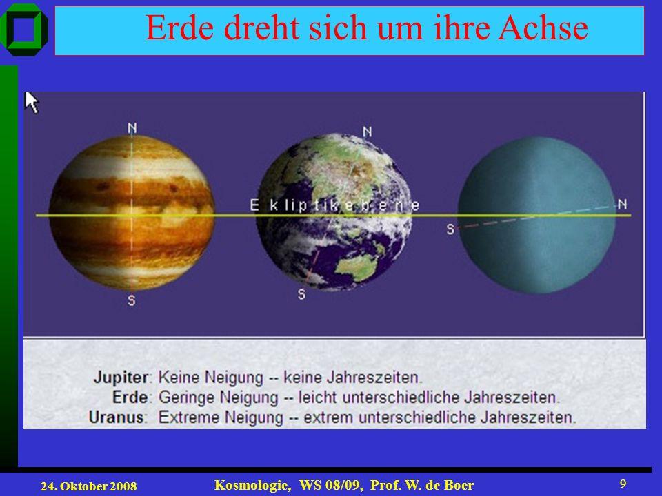24. Oktober 2008 Kosmologie, WS 08/09, Prof. W. de Boer 9 Erde dreht sich um ihre Achse