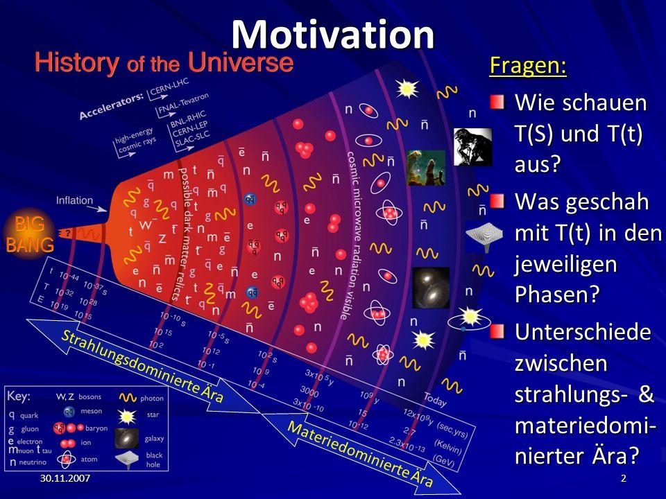 30.11.20072MotivationFragen: Wie schauen T(S) und T(t) aus? Was geschah mit T(t) in den jeweiligen Phasen? Unterschiede zwischen strahlungs- & materie