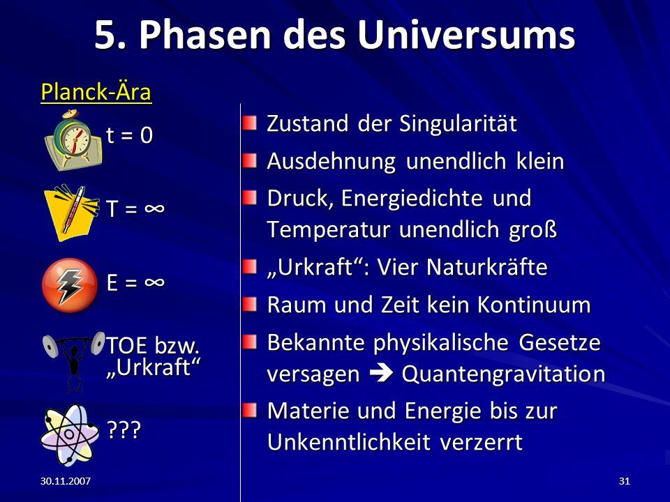 30.11.200731 5. Phasen des Universums Planck-Ära Zustand der Singularität Ausdehnung unendlich klein Druck, Energiedichte und Temperatur unendlich gro