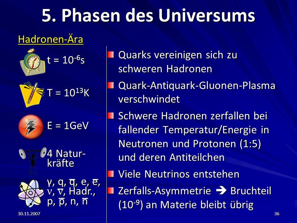 30.11.200736 5. Phasen des Universums Hadronen-Ära Quarks vereinigen sich zu schweren Hadronen Quark-Antiquark-Gluonen-Plasma verschwindet Schwere Had