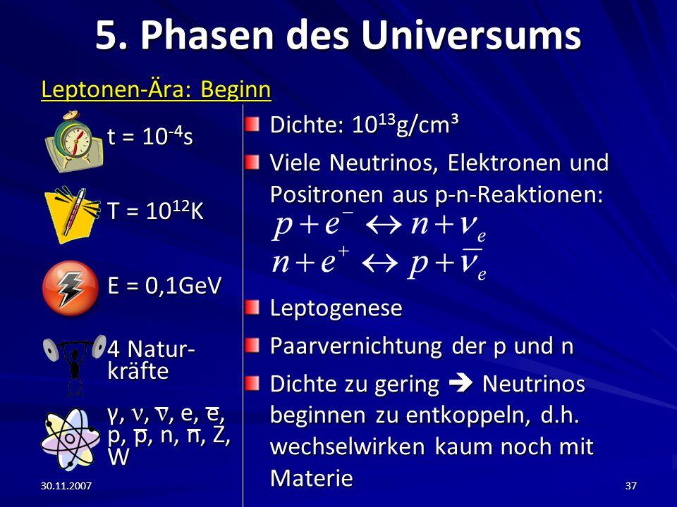 30.11.200737 5. Phasen des Universums Leptonen-Ära: Beginn Dichte: 10 13 g/cm³ Viele Neutrinos, Elektronen und Positronen aus p-n-Reaktionen: Leptogen
