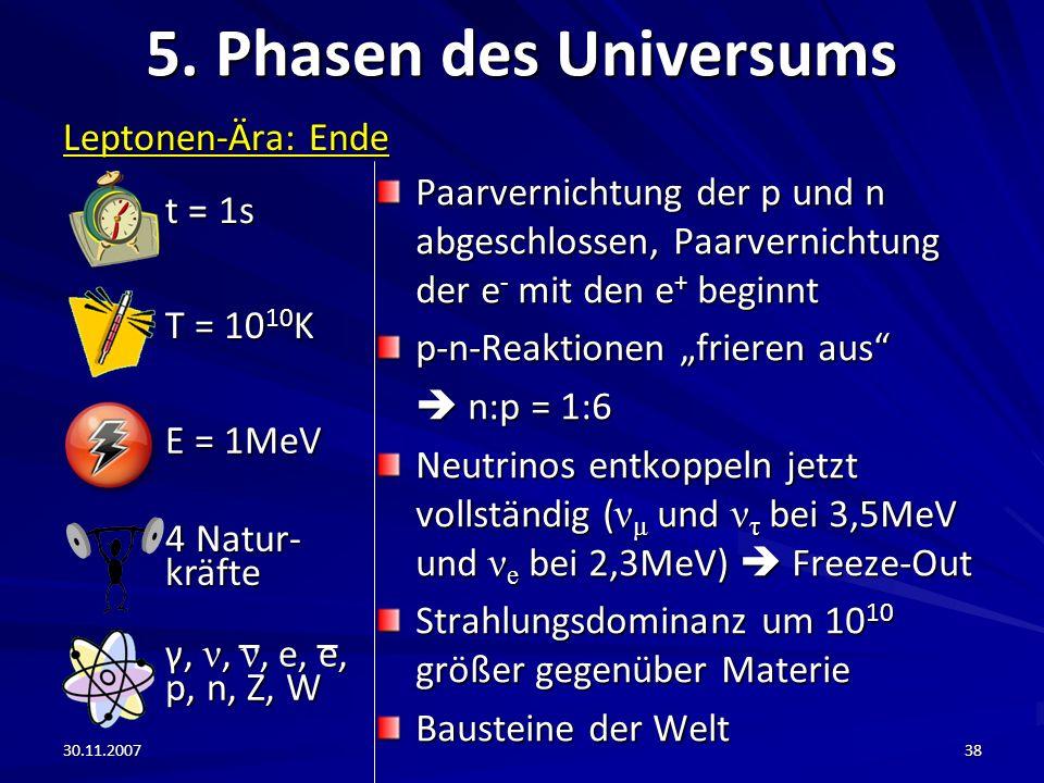 30.11.200738 5. Phasen des Universums Leptonen-Ära: Ende Paarvernichtung der p und n abgeschlossen, Paarvernichtung der e - mit den e + beginnt p-n-Re