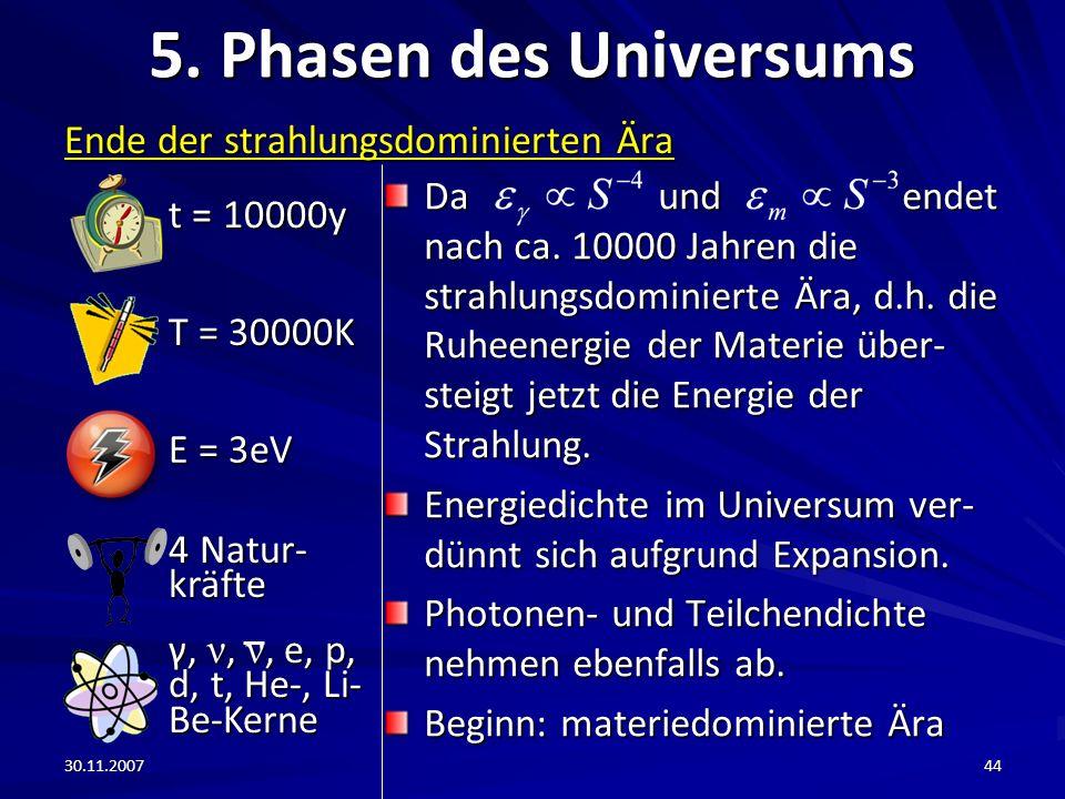 30.11.200744 5. Phasen des Universums Ende der strahlungsdominierten Ära Da und endet nach ca. 10000 Jahren die strahlungsdominierte Ära, d.h. die Ruh