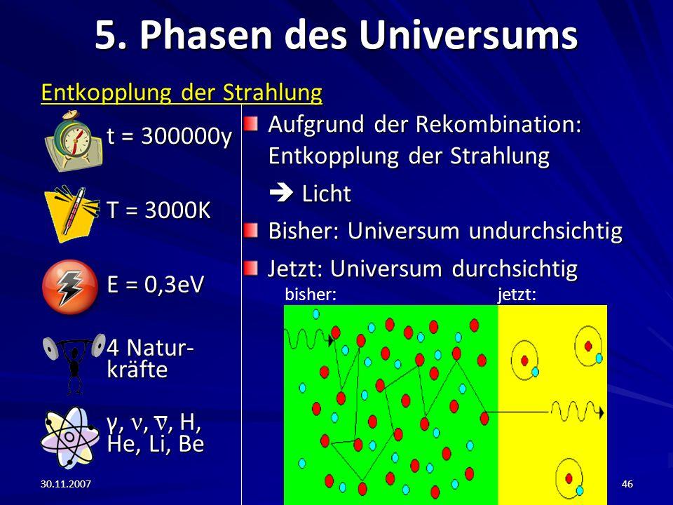 30.11.200746 5. Phasen des Universums Entkopplung der Strahlung Aufgrund der Rekombination: Entkopplung der Strahlung Licht Licht Bisher: Universum un