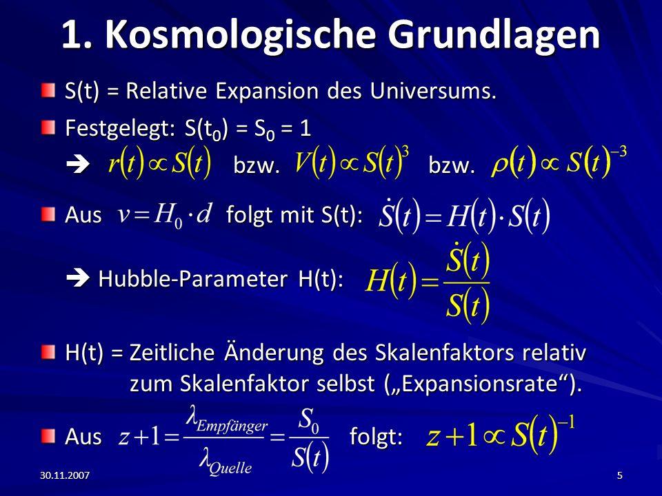 30.11.20075 1. Kosmologische Grundlagen S(t) = Relative Expansion des Universums. Festgelegt: S(t 0 ) = S 0 = 1 bzw. bzw. bzw. bzw. Aus folgt mit S(t)