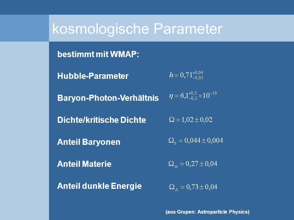 kosmologische Parameter bestimmt mit WMAP: Hubble-Parameter Baryon-Photon-Verhältnis Dichte/kritische Dichte Anteil Baryonen Anteil Materie Anteil dun