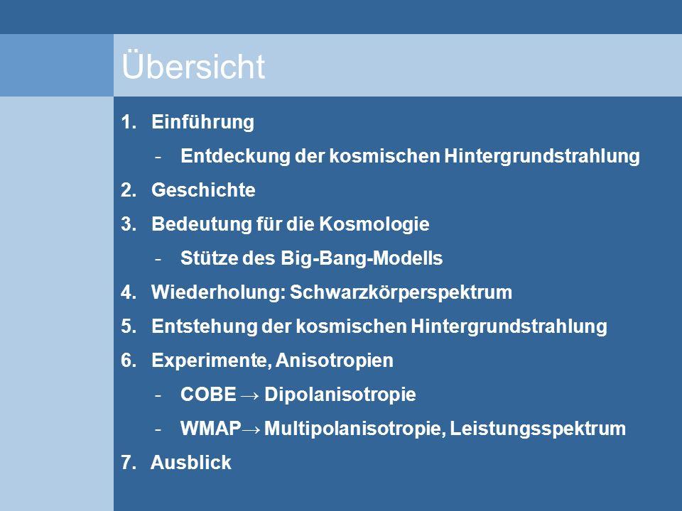 Übersicht 1. Einführung -Entdeckung der kosmischen Hintergrundstrahlung 2. Geschichte 3. Bedeutung für die Kosmologie -Stütze des Big-Bang-Modells 4.