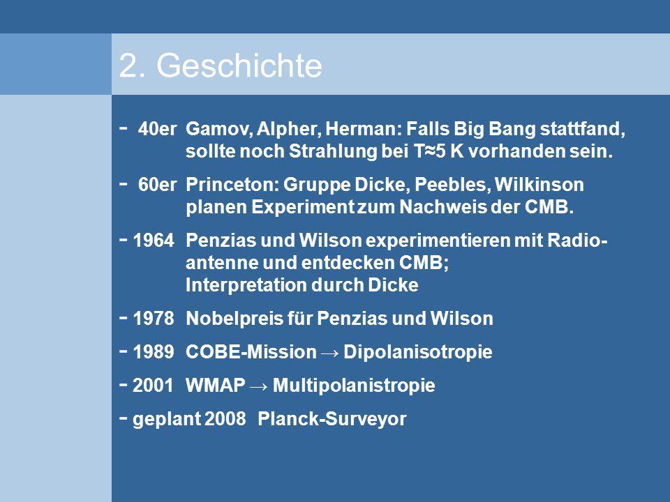 2. Geschichte - 40er Gamov, Alpher, Herman: Falls Big Bang stattfand, sollte noch Strahlung bei T5 K vorhanden sein. - 60er Princeton: Gruppe Dicke, P