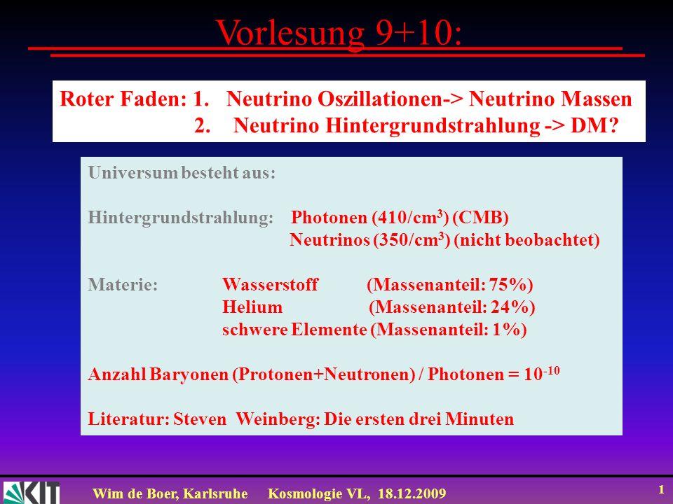 Wim de Boer, KarlsruheKosmologie VL, 18.12.2009 1 Vorlesung 9+10: Roter Faden: 1. Neutrino Oszillationen-> Neutrino Massen 2. Neutrino Hintergrundstra