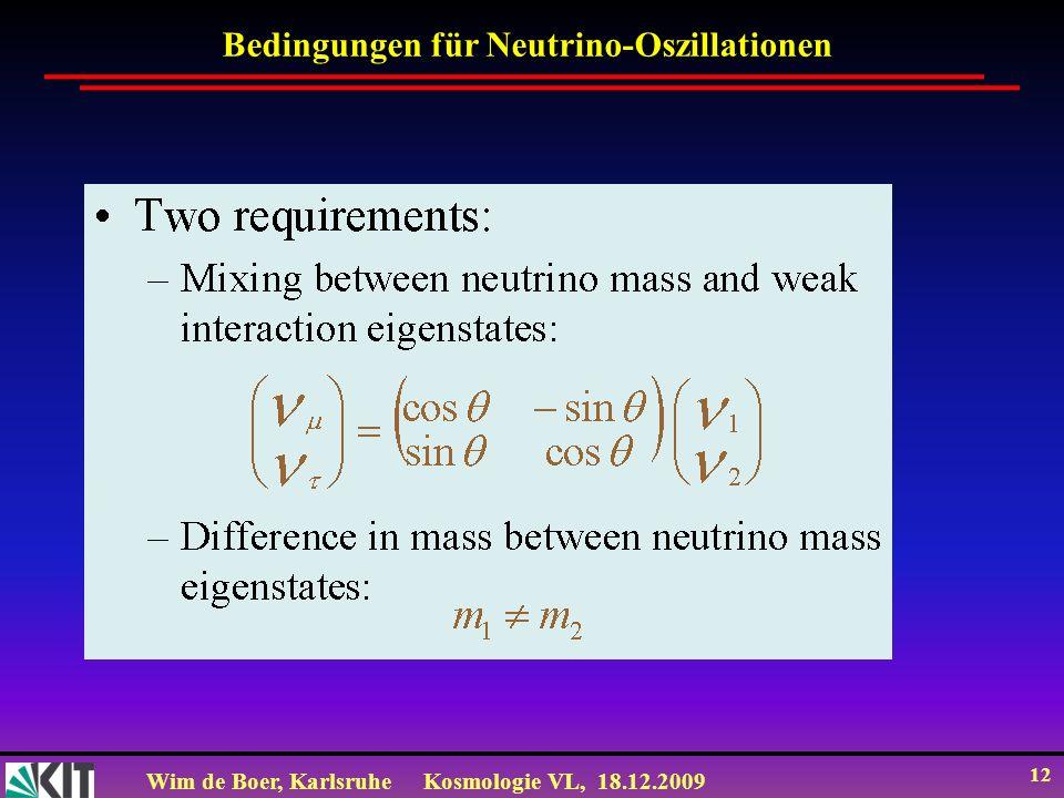 Wim de Boer, KarlsruheKosmologie VL, 18.12.2009 12 Bedingungen für Neutrino-Oszillationen