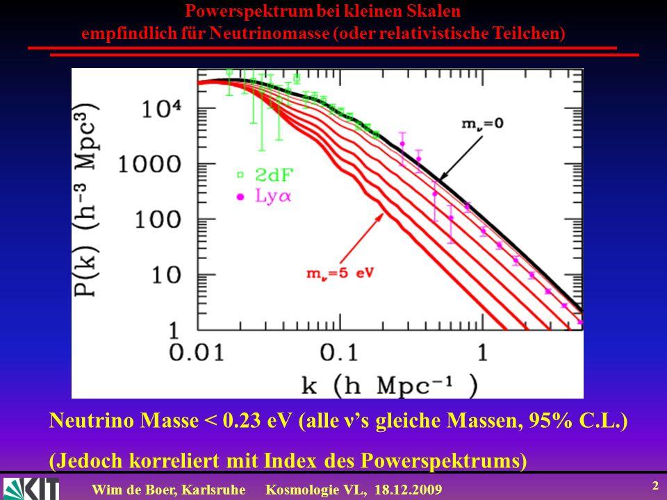 Wim de Boer, KarlsruheKosmologie VL, 18.12.2009 43 Temperatur der Neutrino Hintergrundstrahlung Vor der Neutrino-Entkoppelung hatten Photonen und Neutrinos die gleiche Temperatur.