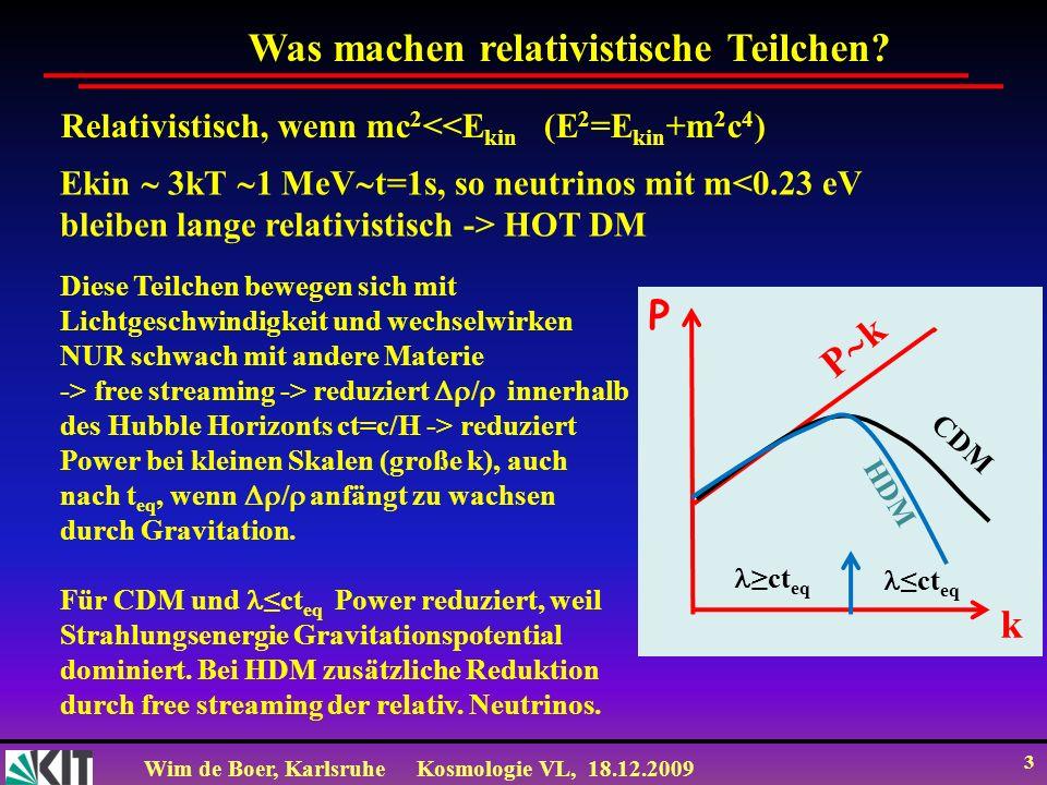 Wim de Boer, KarlsruheKosmologie VL, 18.12.2009 3 Was machen relativistische Teilchen? Relativistisch, wenn mc 2 <<E kin (E 2 =E kin +m 2 c 4 ) Ekin 3