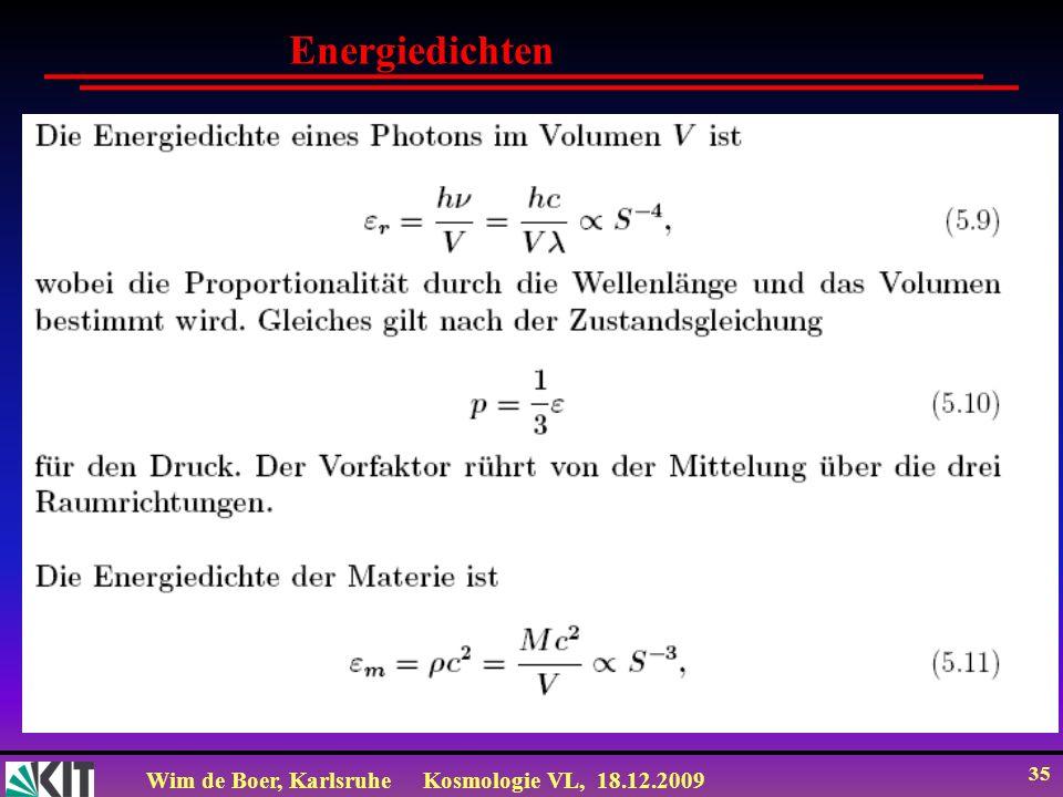 Wim de Boer, KarlsruheKosmologie VL, 18.12.2009 35 Energiedichten