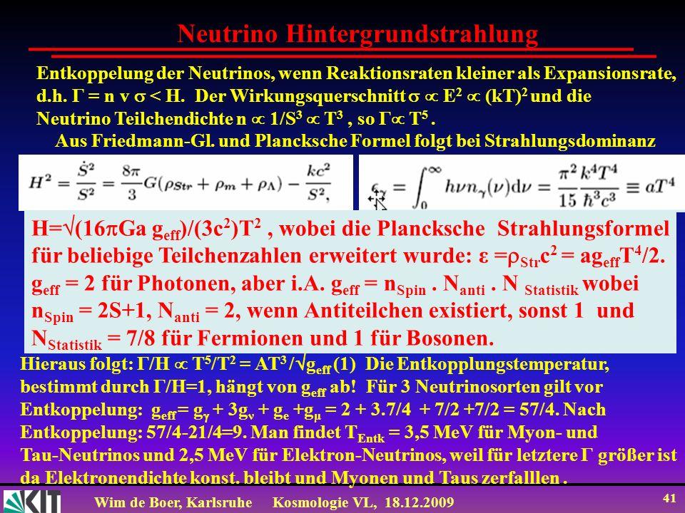 Wim de Boer, KarlsruheKosmologie VL, 18.12.2009 41 Neutrino Hintergrundstrahlung Entkoppelung der Neutrinos, wenn Reaktionsraten kleiner als Expansion