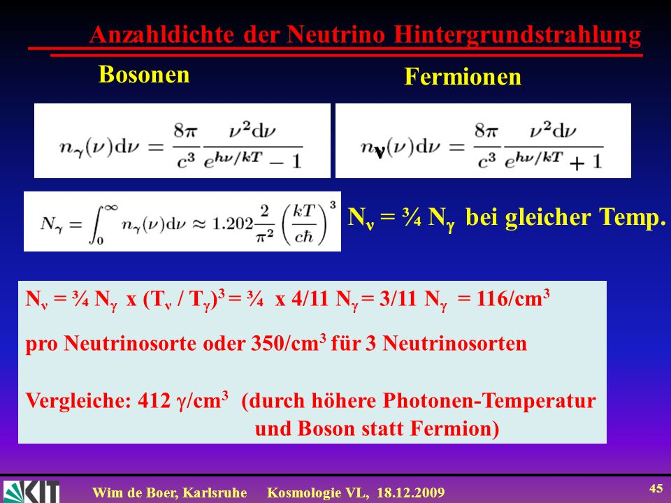 Wim de Boer, KarlsruheKosmologie VL, 18.12.2009 45 Anzahldichte der Neutrino Hintergrundstrahlung Bosonen Fermionen + ν N ν = ¾ N bei gleicher Temp. N