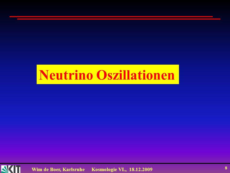 Wim de Boer, KarlsruheKosmologie VL, 18.12.2009 9 Geladene schwache Ströme MyonzerfallNeutronzerfall + Übergänge durch geladene Ströme (=W-Austausch Keine Übergänge durch neutrale Ströme (=Z-Austausch), d.h.