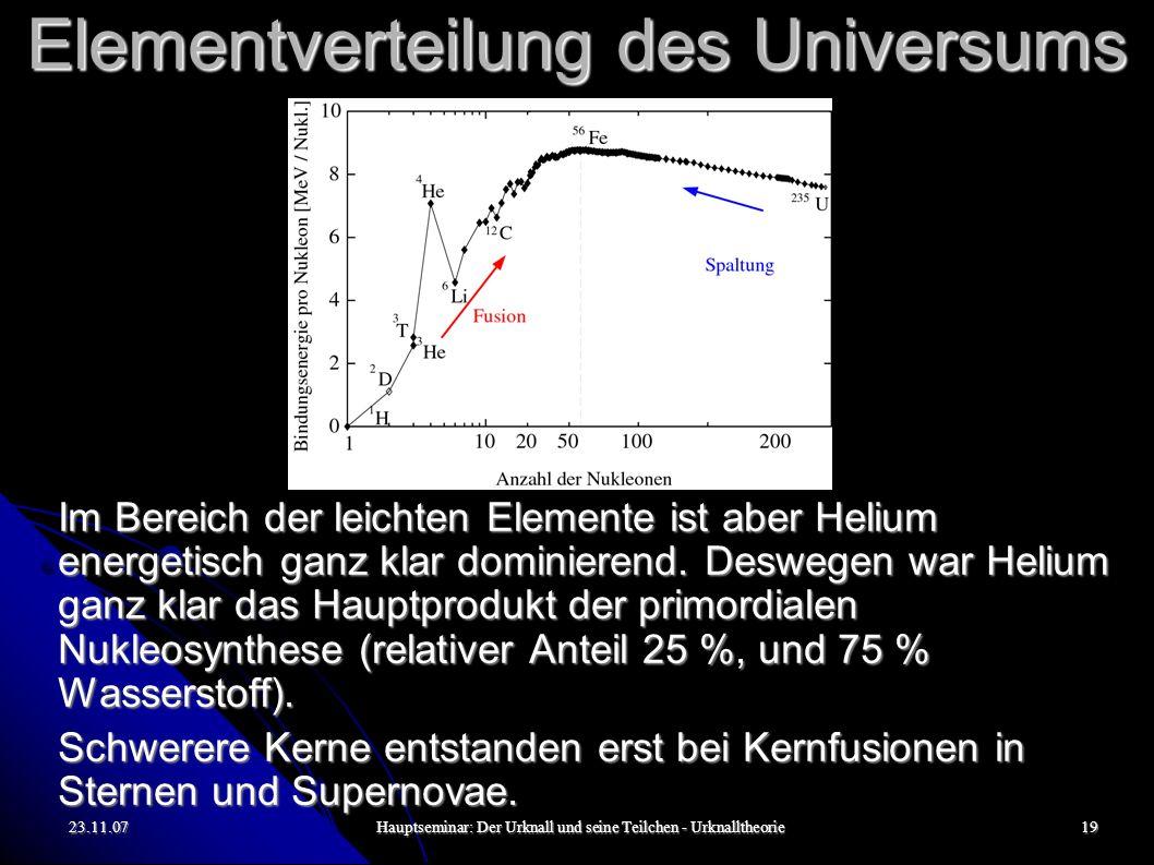 23.11.07Hauptseminar: Der Urknall und seine Teilchen - Urknalltheorie19 Elementverteilung des Universums Im Bereich der leichten Elemente ist aber Helium energetisch ganz klar dominierend.