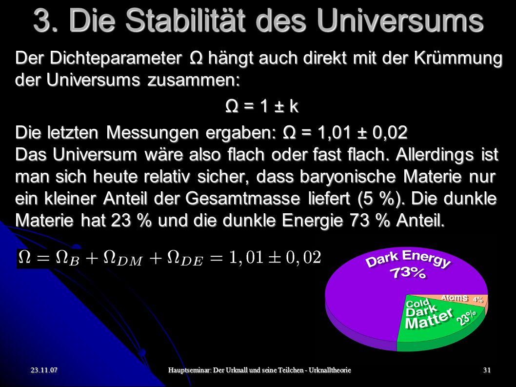 23.11.07Hauptseminar: Der Urknall und seine Teilchen - Urknalltheorie31 3. Die Stabilität des Universums Der Dichteparameter Ω hängt auch direkt mit d