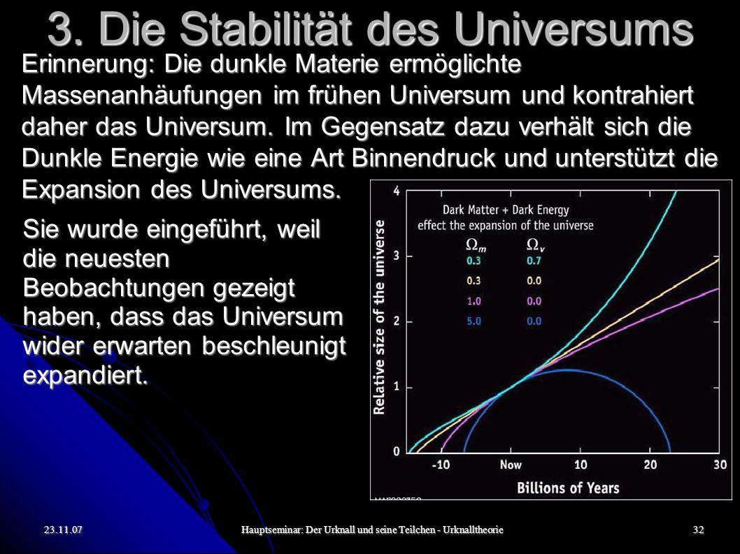 23.11.07Hauptseminar: Der Urknall und seine Teilchen - Urknalltheorie32 3. Die Stabilität des Universums Erinnerung: Die dunkle Materie ermöglichte Ma