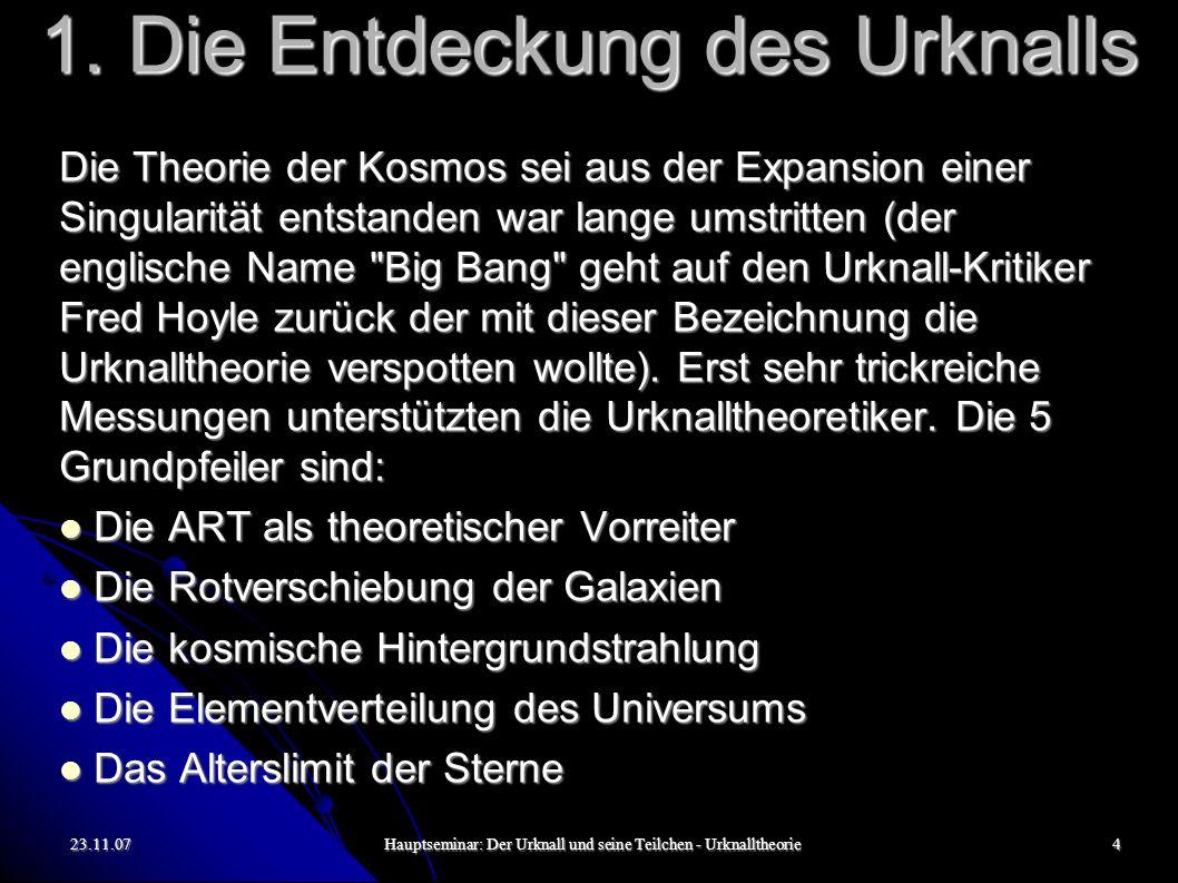 23.11.07Hauptseminar: Der Urknall und seine Teilchen - Urknalltheorie4 1. Die Entdeckung des Urknalls Die Theorie der Kosmos sei aus der Expansion ein