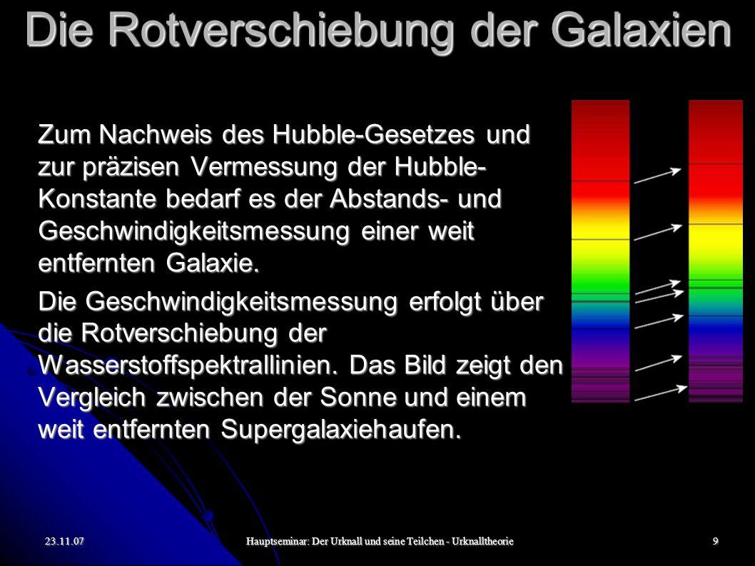 23.11.07Hauptseminar: Der Urknall und seine Teilchen - Urknalltheorie9 Die Rotverschiebung der Galaxien Zum Nachweis des Hubble-Gesetzes und zur präzi