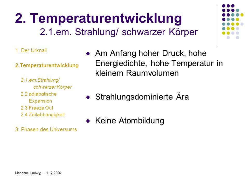 Marianne Ludwig - 1.12.2006 2.Temperaturentwicklung 2.4 Zeitabhängigkeit 1.
