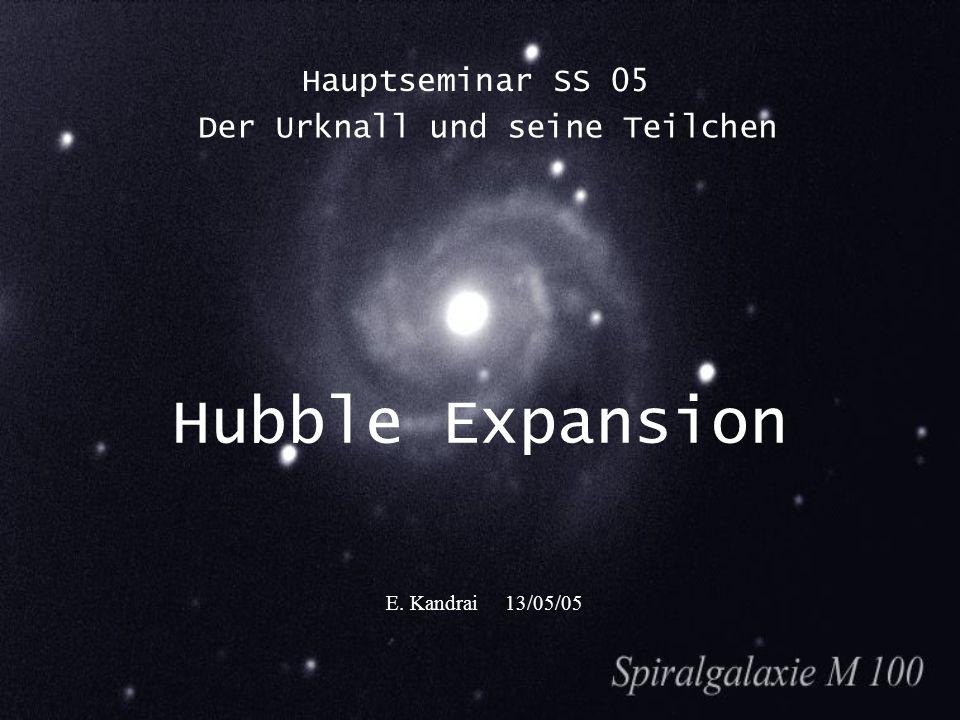 Hubble Expansion Hauptseminar SS 05 E. Kandrai 13/05/05 Der Urknall und seine Teilchen