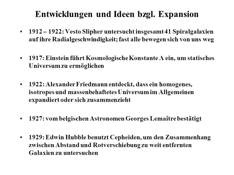 Das Einstein–de Sitter–Universum Friedmann–Gleichungen für homogenes, isotrop expandierendes Universum: Dichte aller Masse und Energie mit Gravitationskonstante Skalenfaktor kosmologische Konstante Druck Friedmann–Modell mit heißt Einstein–de Sitter–Universum ; mit erhält man: Mit: Annahme, dass in einer Kugel die Dichte zeitlich konstant ist, sowie R=0 für t=0 erhält man durch Integration: