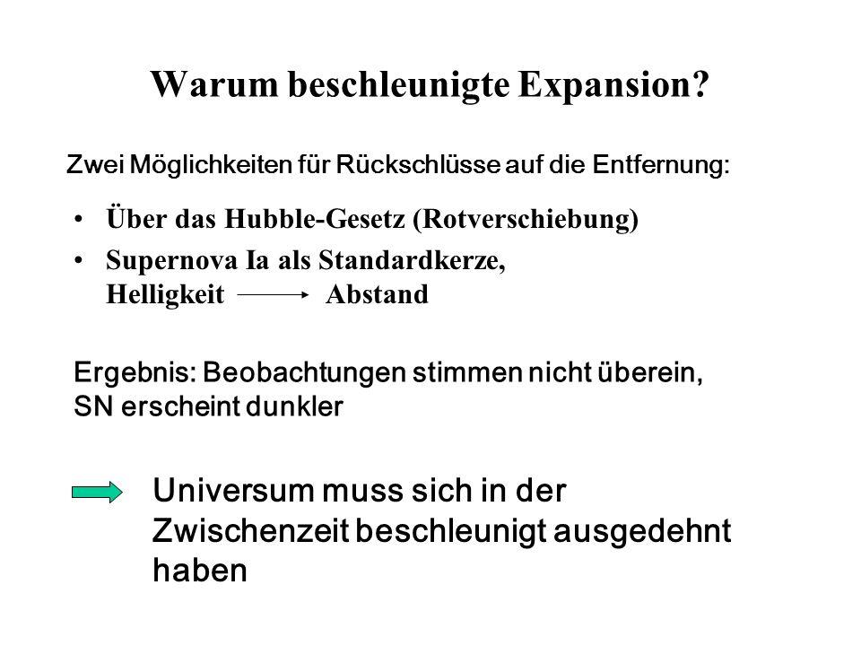 Warum beschleunigte Expansion? Über das Hubble-Gesetz (Rotverschiebung) Supernova Ia als Standardkerze, Helligkeit Abstand Zwei Möglichkeiten für Rück