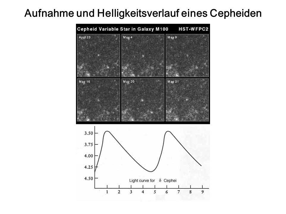 Aufnahme und Helligkeitsverlauf eines Cepheiden